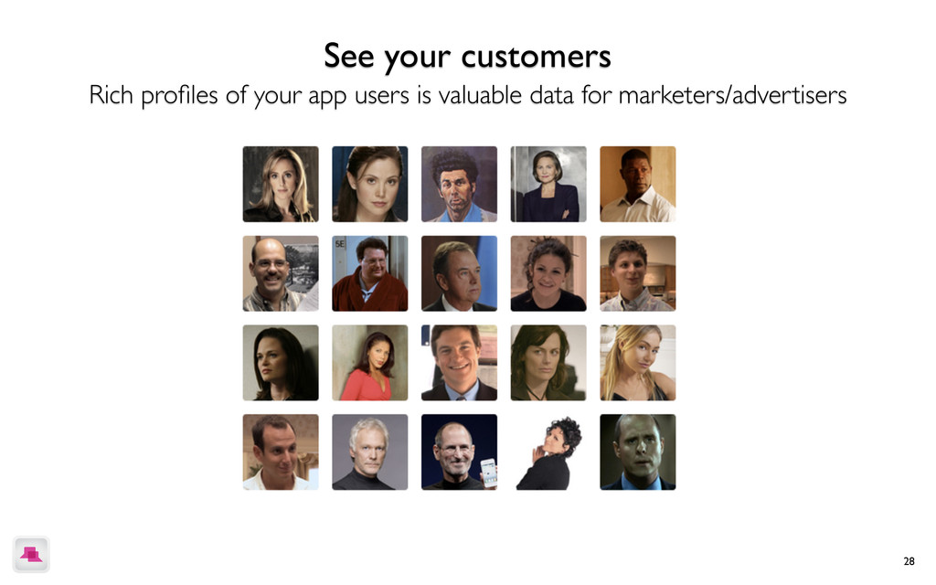 28 See your customers Rich profiles of your app ...