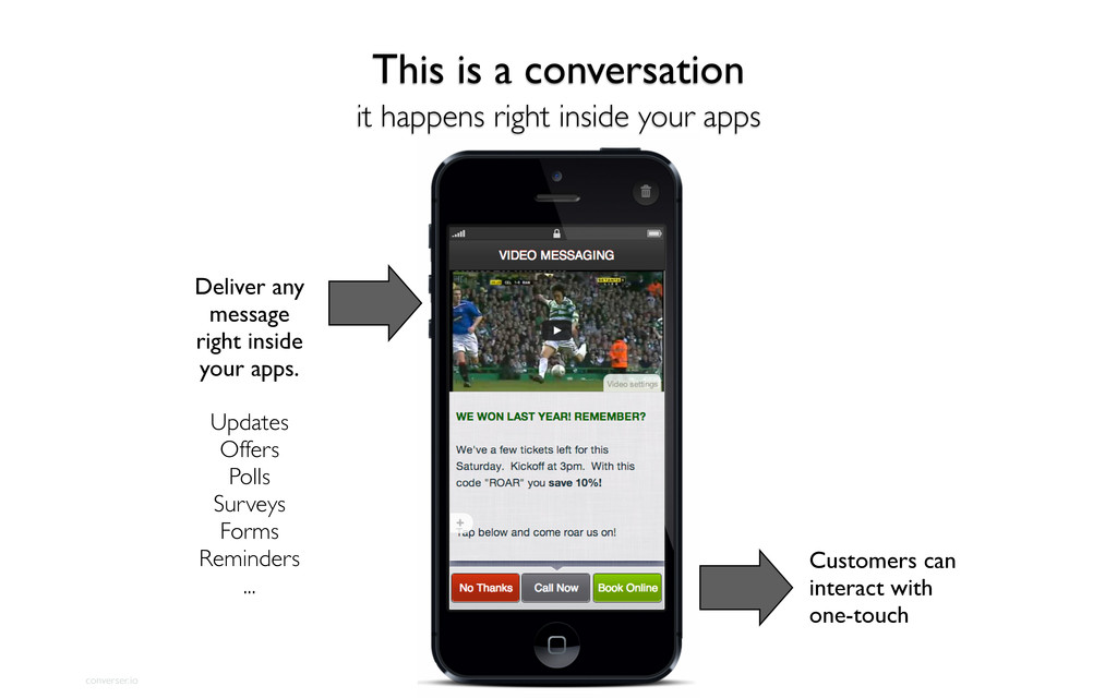 converser.io Deliver any message right inside y...