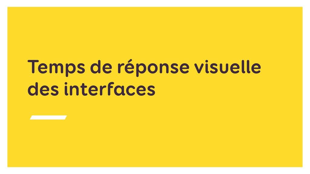 Temps de réponse visuelle des interfaces