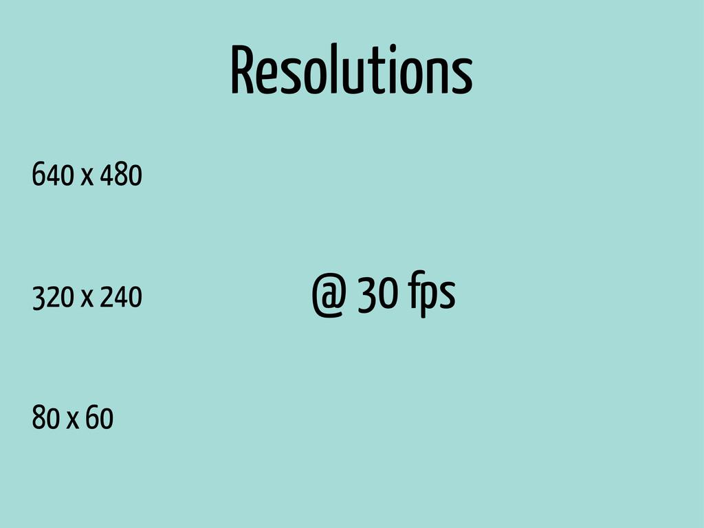 640 x 480 320 x 240 80 x 60 @ 30 fps Resolutions