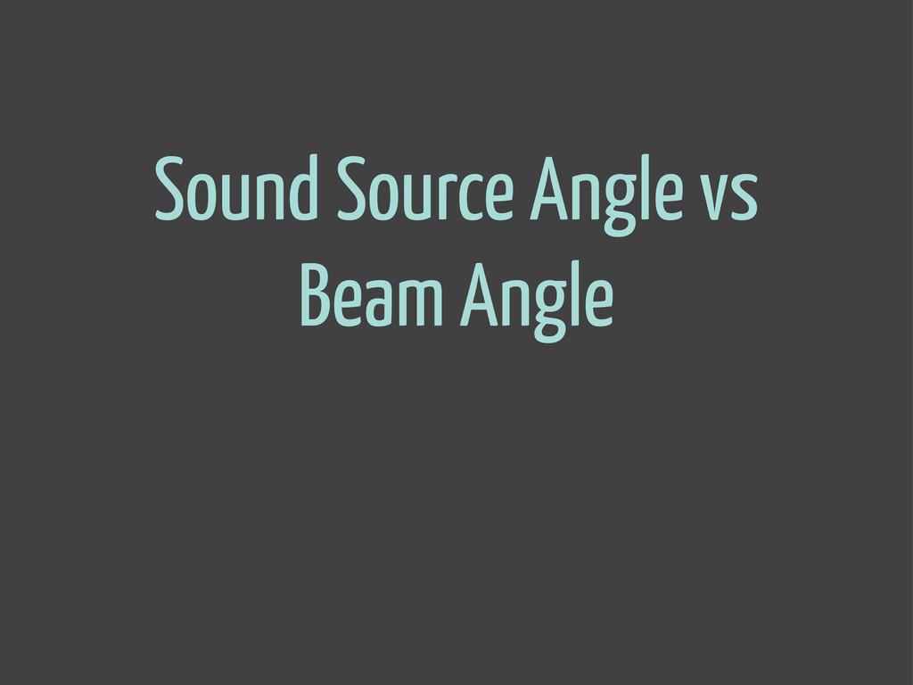 Sound Source Angle vs Beam Angle
