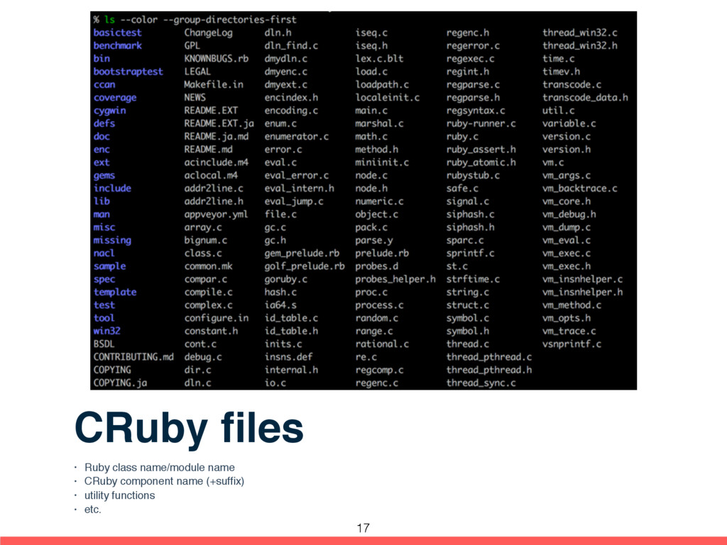 CRuby files • Ruby class name/module name • CRub...