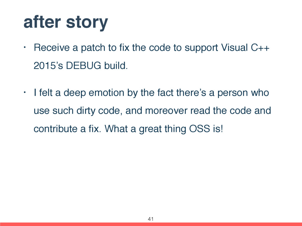 after story • Receive a patch to fix the code to...
