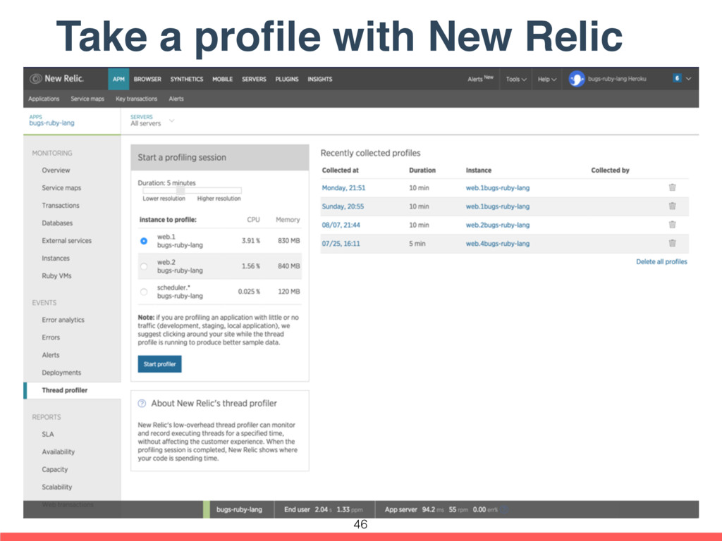 Take a profile with New Relic 46
