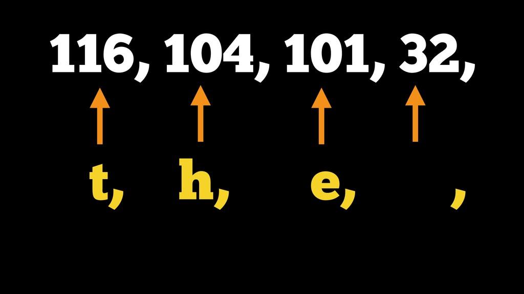 116, 104, 101, 32, t, h, e, ,