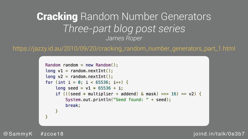 joind.in/talk/0e3b7 @SammyK #zcoe18 Cracking Ra...