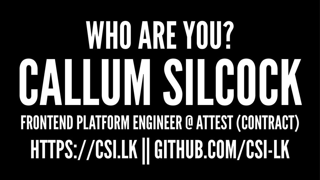 WHO ARE YOU? CALLUM SILCOCK FRONTEND PLATFORM E...