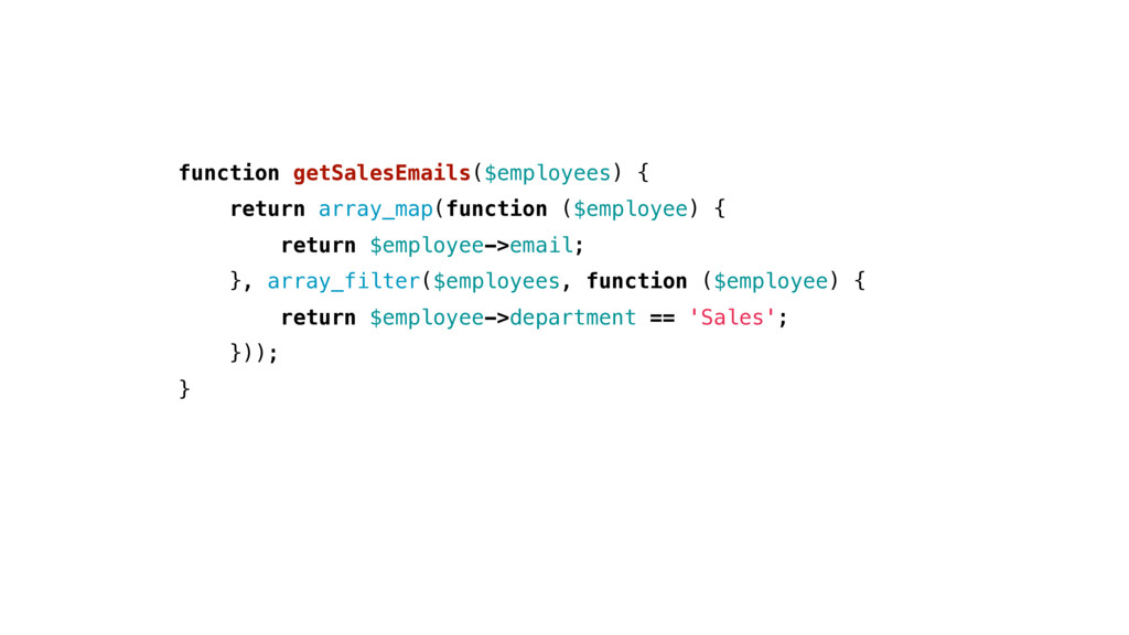 function getSalesEmails($employees) { return ar...