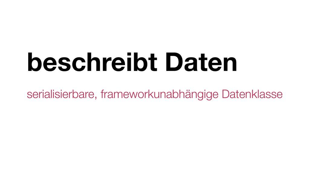 beschreibt Daten serialisierbare, frameworkunab...