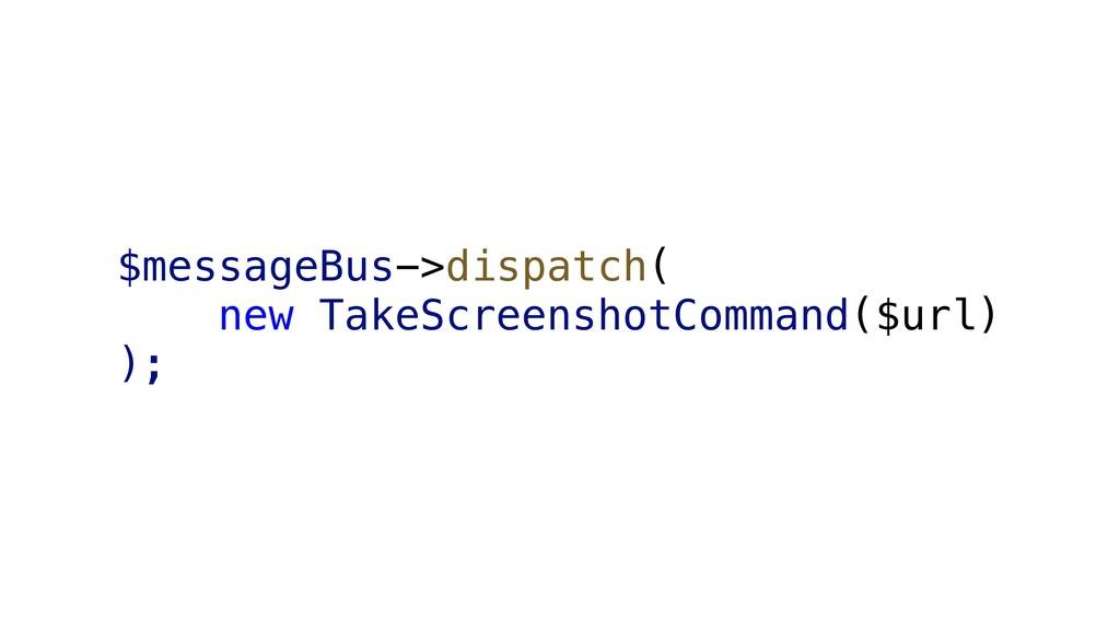 $messageBus->dispatch( new TakeScreenshotComman...