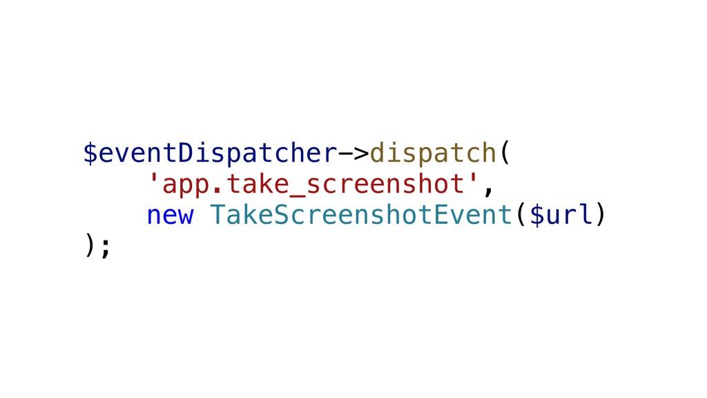 $eventDispatcher->dispatch( 'app.take_screensho...