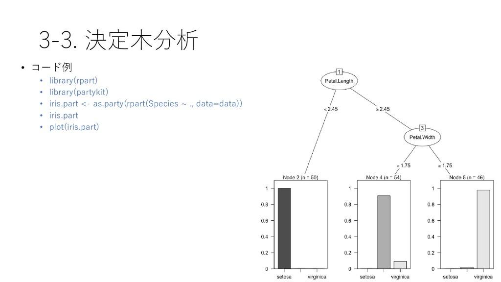 3-3. 決定木分析 • コード例 • library(rpart) • library(pa...
