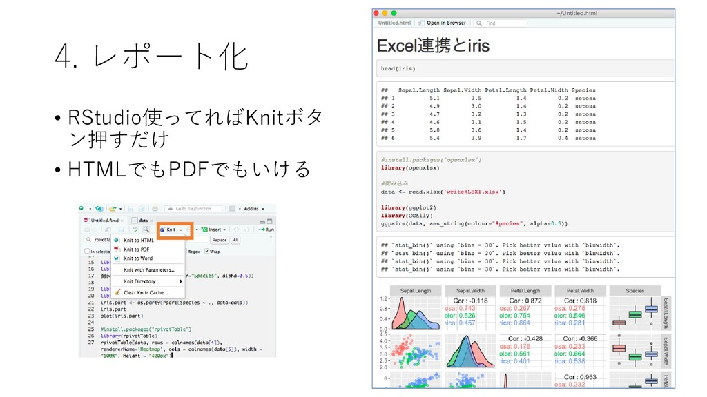 4. レポート化 • RStudio使ってればKnitボタ ン押すだけ • HTMLでもPDF...