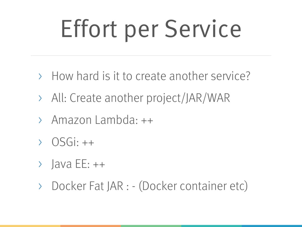 Effort per Service > How hard is it to create a...