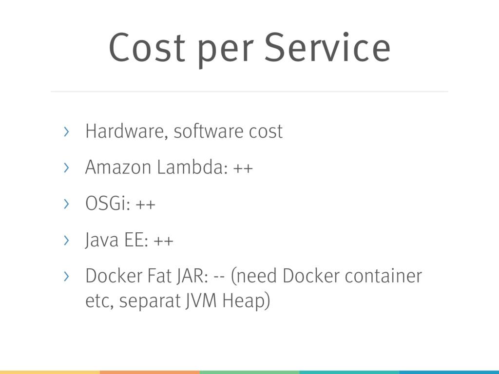 Cost per Service > Hardware, software cost > Am...