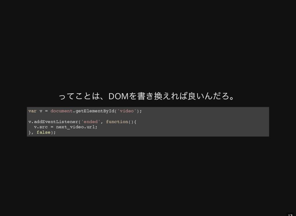 ってことは、DOM を書き換えれば良いんだろ。 v a r v = d o c u m e n...