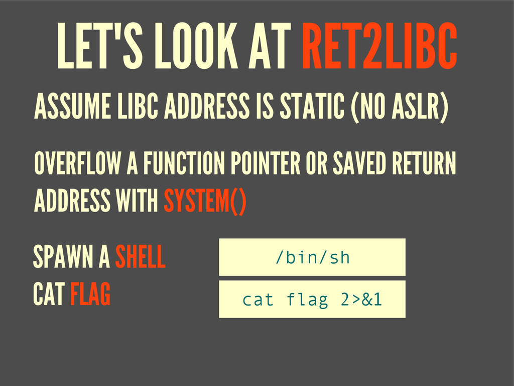 LET'S LOOK AT RET2LIBC ASSUME LIBC ADDRESS IS S...