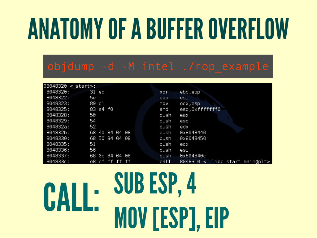 ANATOMY OF A BUFFER OVERFLOW objdump -d -M inte...
