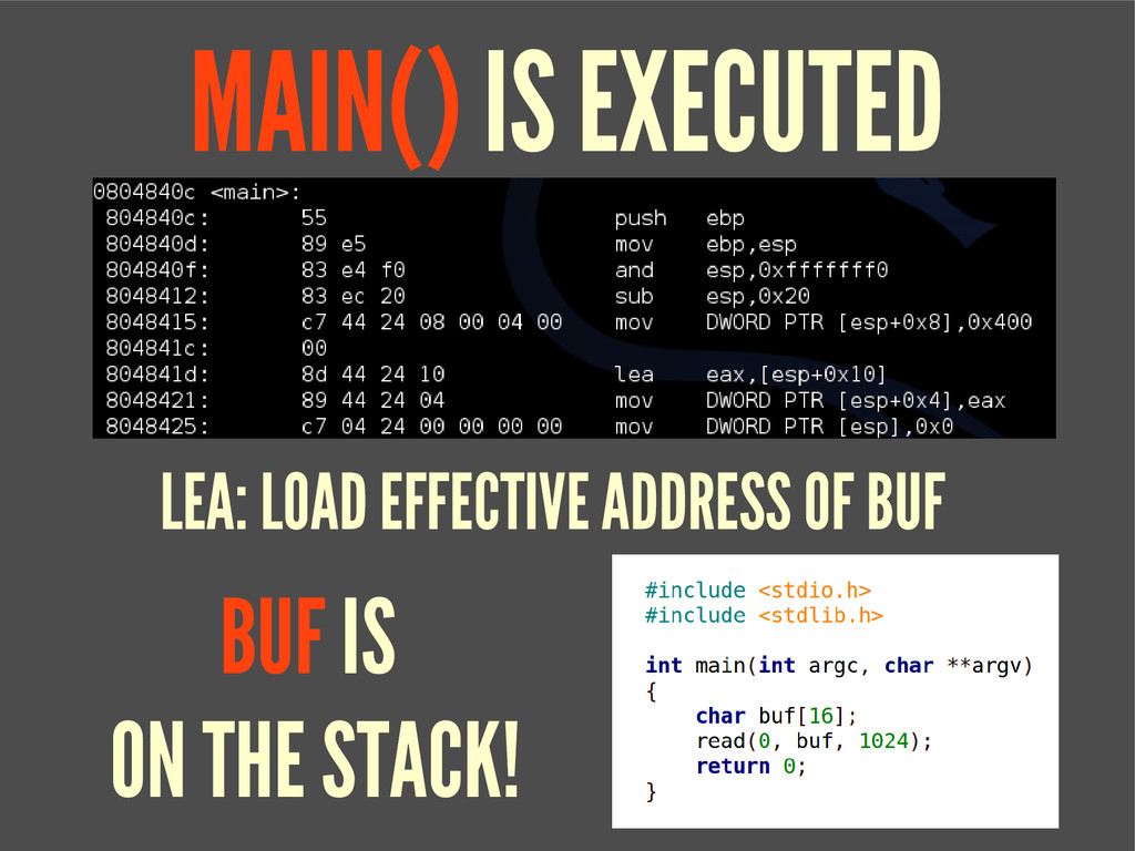 MAIN() IS EXECUTED LEA: LOAD EFFECTIVE ADDRESS ...