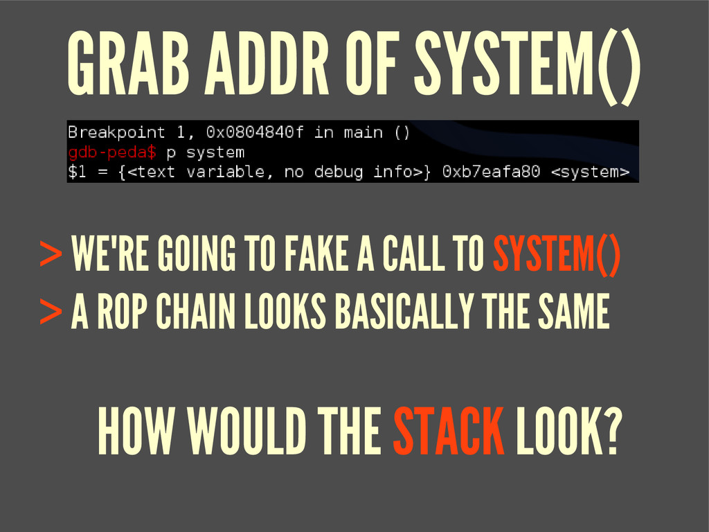 GRAB ADDR OF SYSTEM() > WE'RE GOING TO FAKE A C...