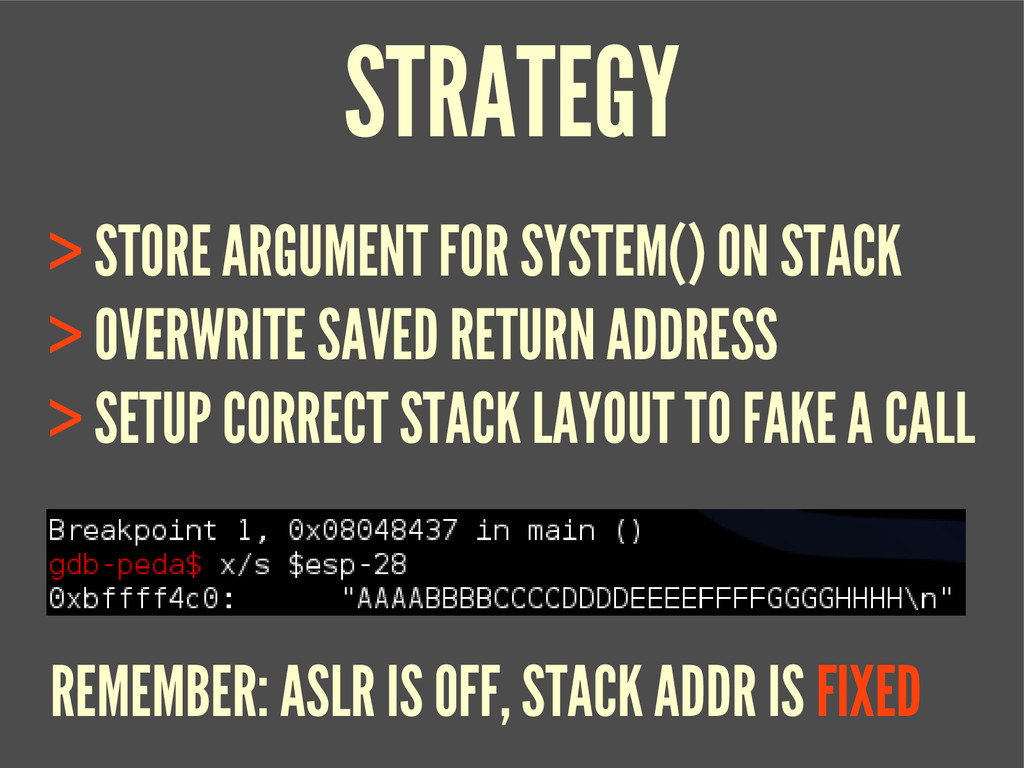 STRATEGY > STORE ARGUMENT FOR SYSTEM() ON STACK...