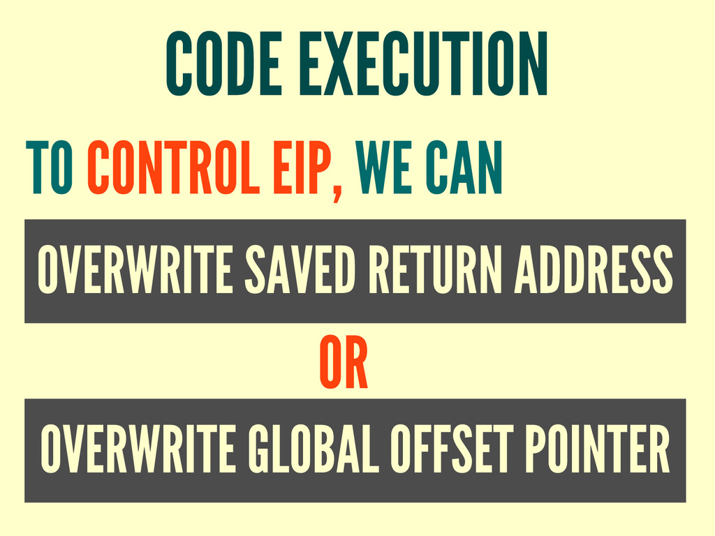 CODE EXECUTION OVERWRITE SAVED RETURN ADDRESS T...