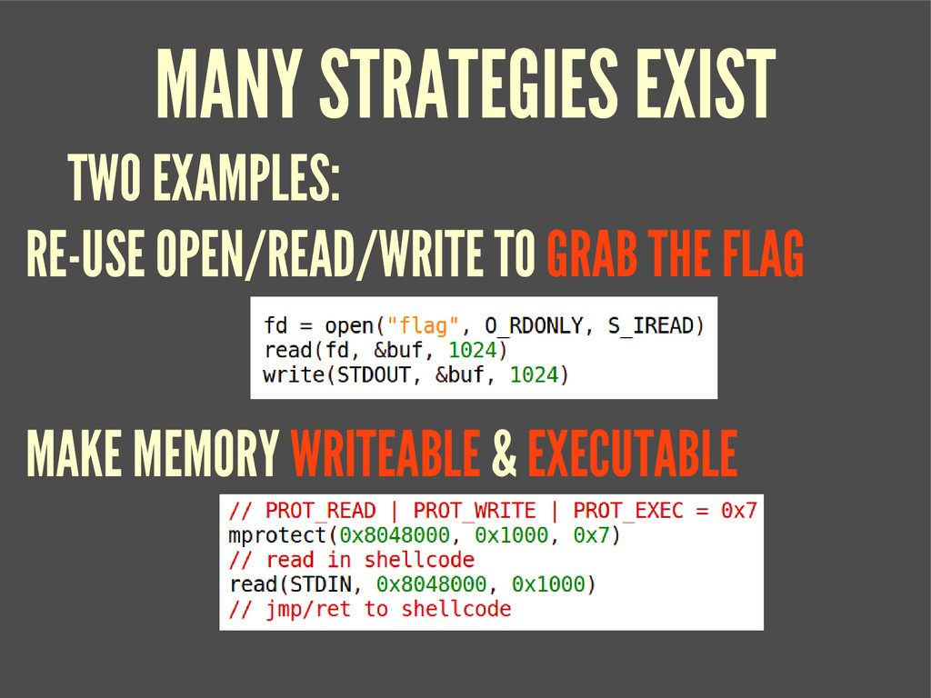 MANY STRATEGIES EXIST RE-USE OPEN/READ/WRITE TO...