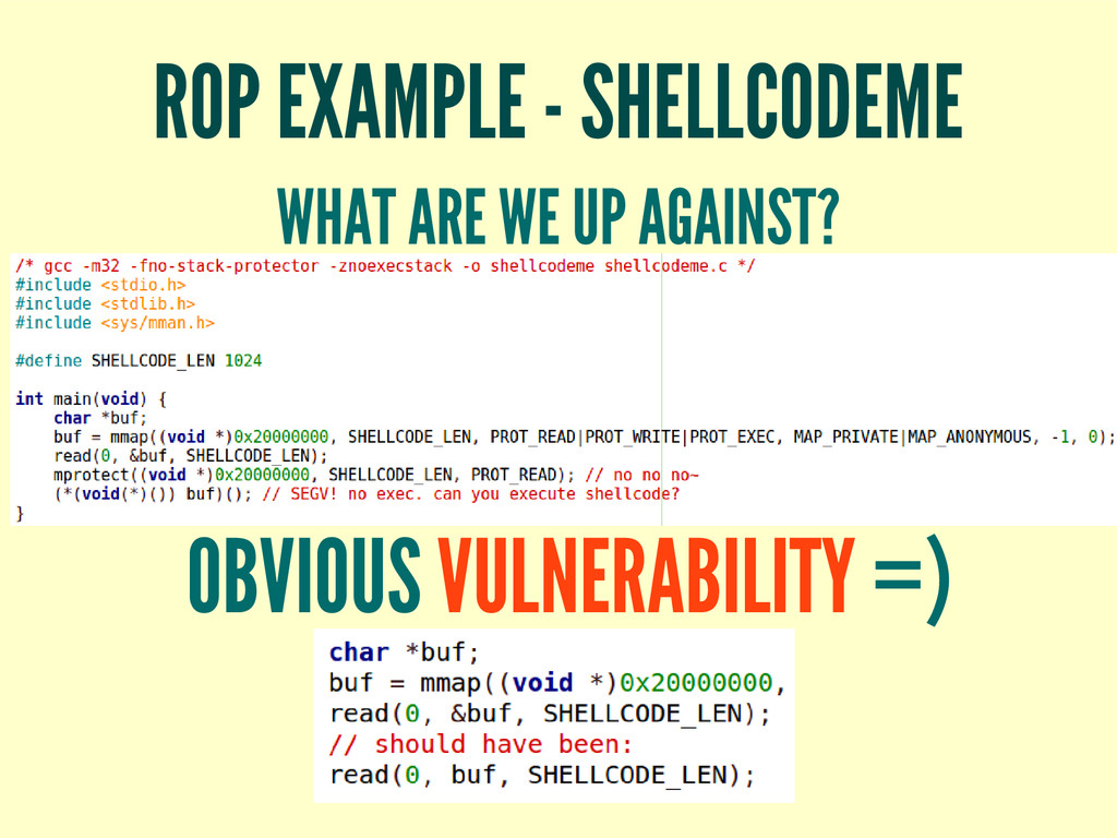 ROP EXAMPLE - SHELLCODEME WHAT ARE WE UP AGAINS...