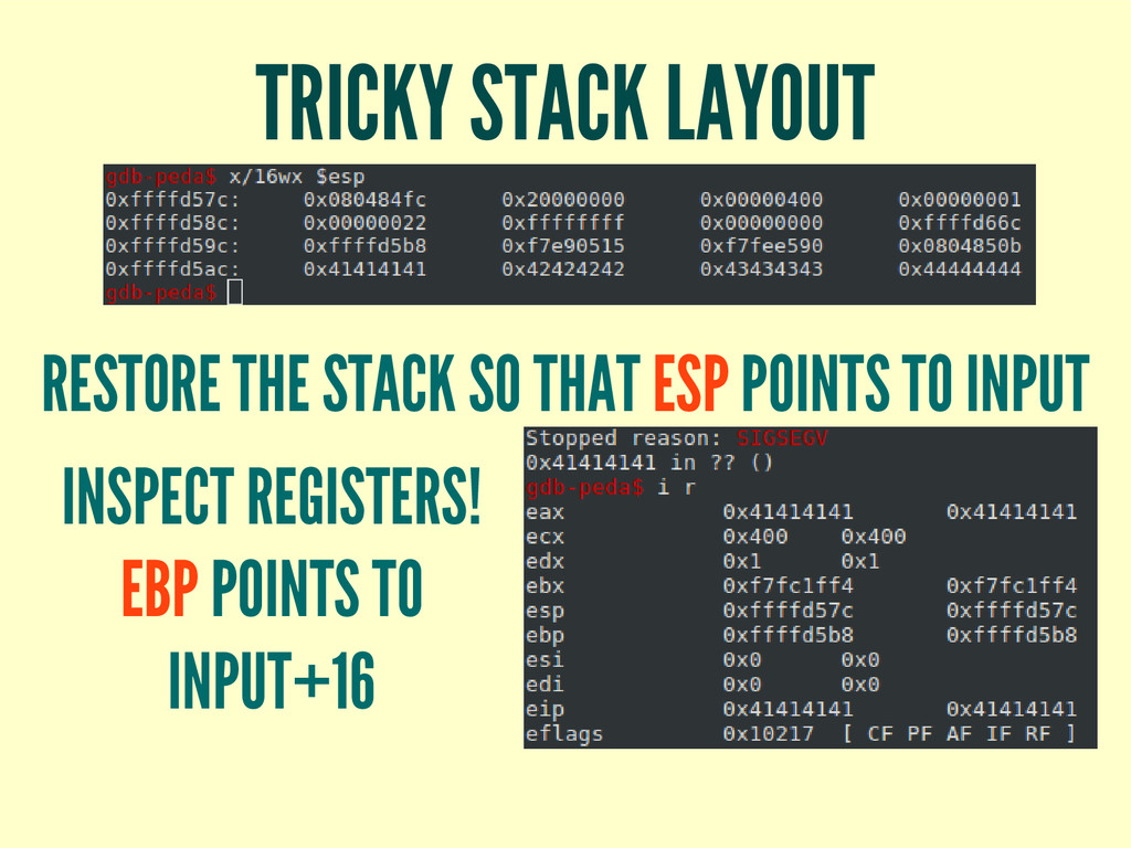 TRICKY STACK LAYOUT RESTORE THE STACK SO THAT E...