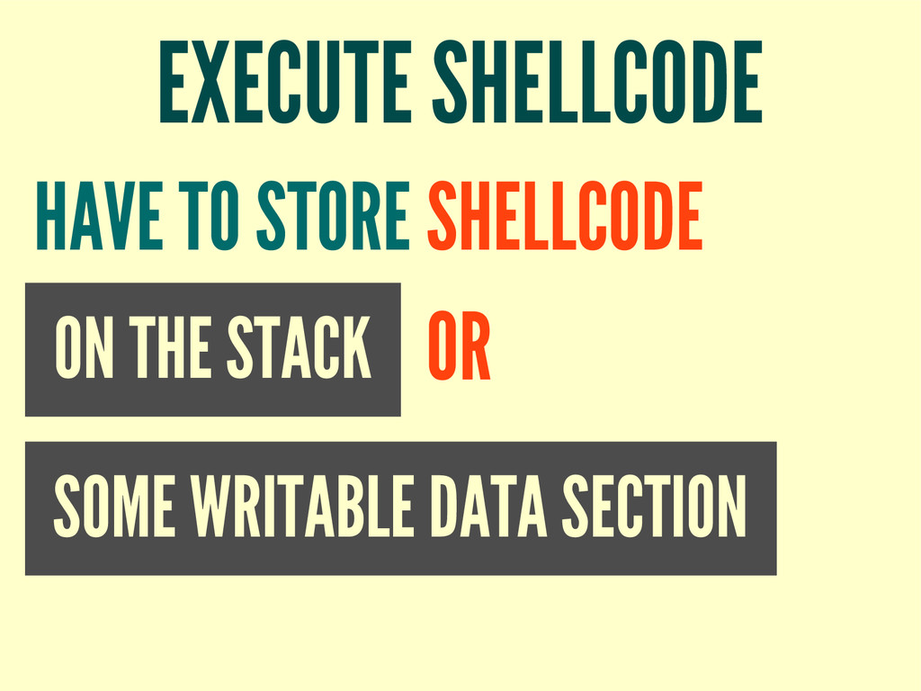 EXECUTE SHELLCODE ON THE STACK HAVE TO STORE SH...