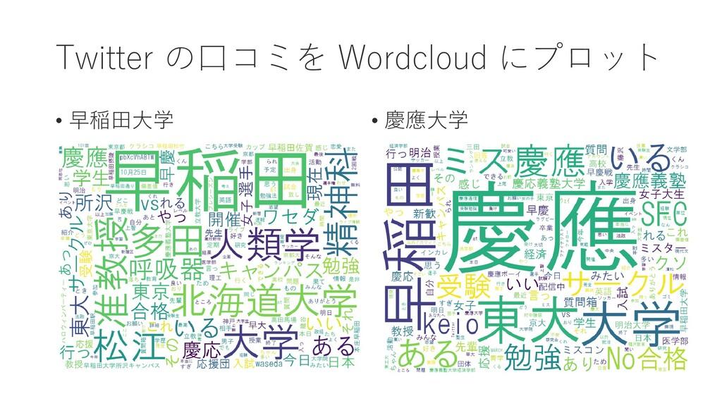 Twitter の口コミを Wordcloud にプロット • 早稲田大学 • 慶應大学