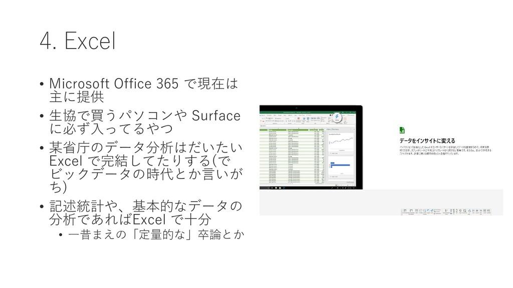4. Excel • Microsoft Office 365 で現在は 主に提供 • 生協で...