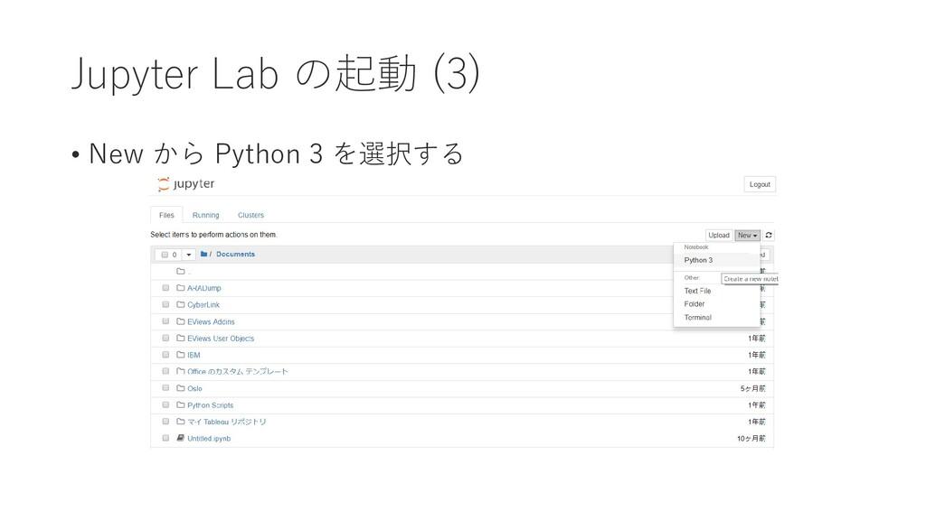 Jupyter Lab の起動 (3) • New から Python 3 を選択する
