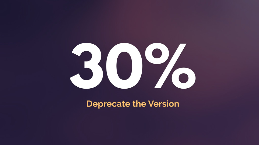 30% Deprecate the Version