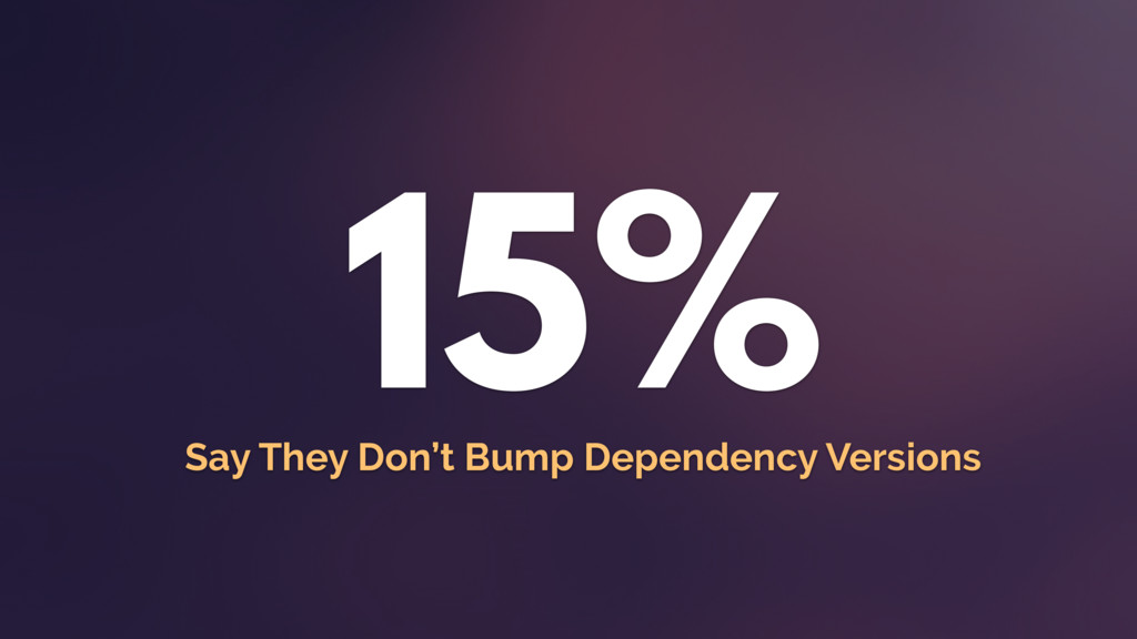 15% Say They Don't Bump Dependency Versions