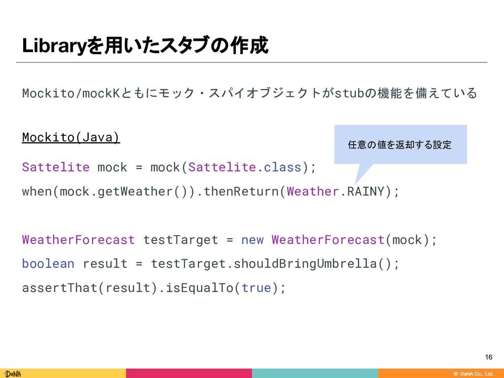 Libraryを用いたスタブの作成 Mockito/mockKともにモック・スパイオブジェクト...