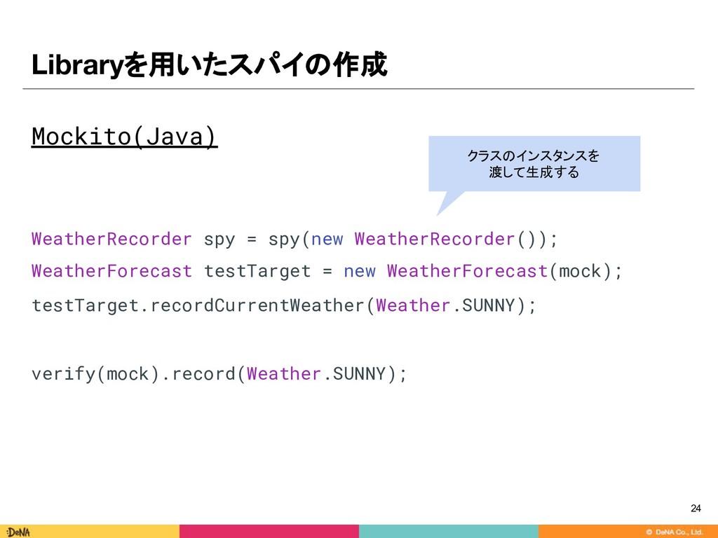Libraryを用いたスパイの作成 Mockito(Java) WeatherRecorder...