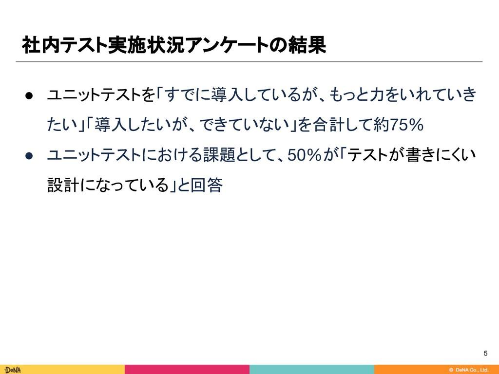 社内テスト実施状況アンケートの結果 ● ユニットテストを「すでに導入しているが、もっと力をいれ...