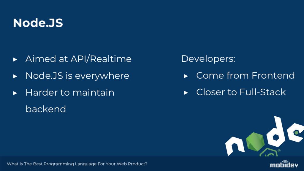 Node.JS ▶ Aimed at API/Realtime ▶ Node.JS is ev...
