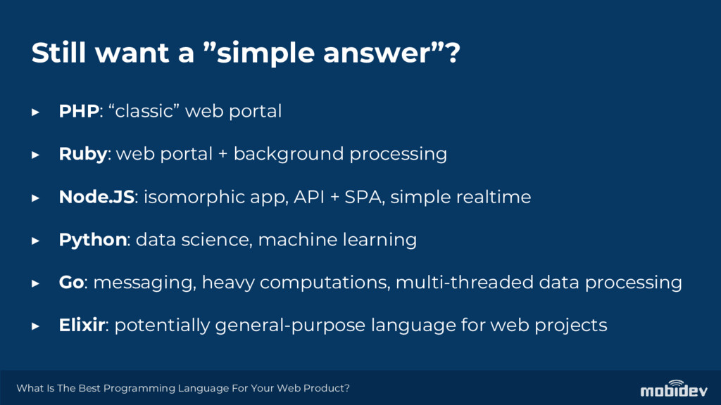 """Still want a """"simple answer""""? ▶ PHP: """"classic"""" ..."""