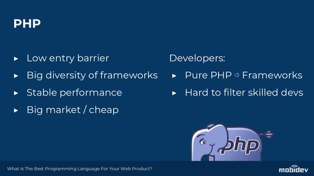 PHP ▶ Low entry barrier ▶ Big diversity of fram...