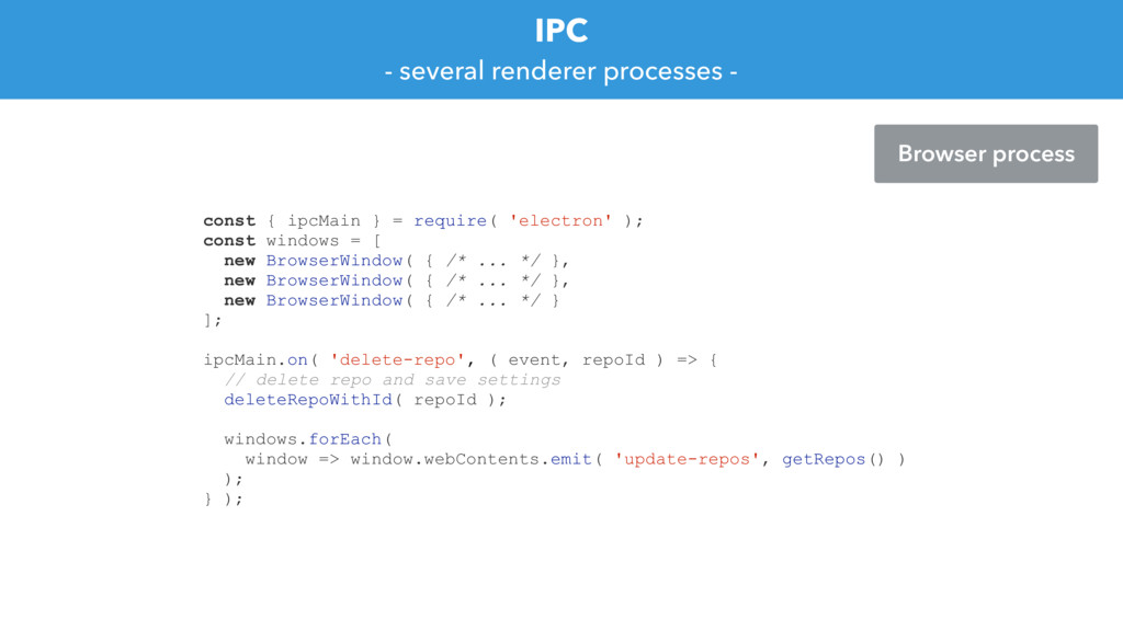 IPC - several renderer processes - const { ipcM...