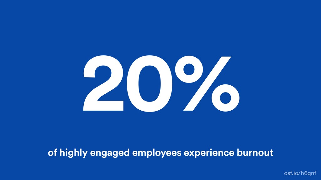 20% of highly engaged employees experience burn...