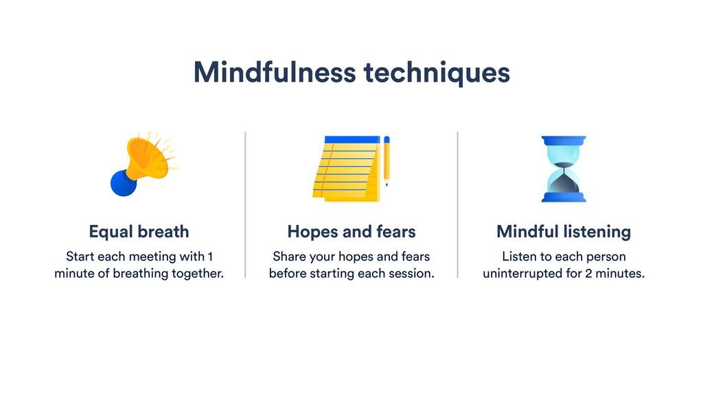 Mindful listening Listen to each person uninter...