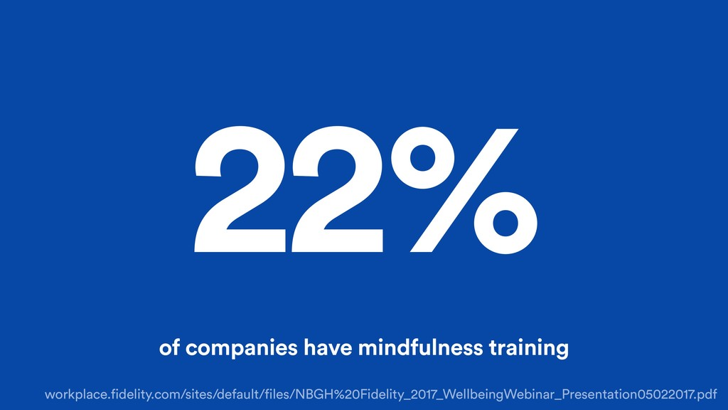 22% of companies have mindfulness training work...