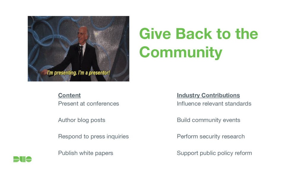 Give Back to the Community Content Present at c...